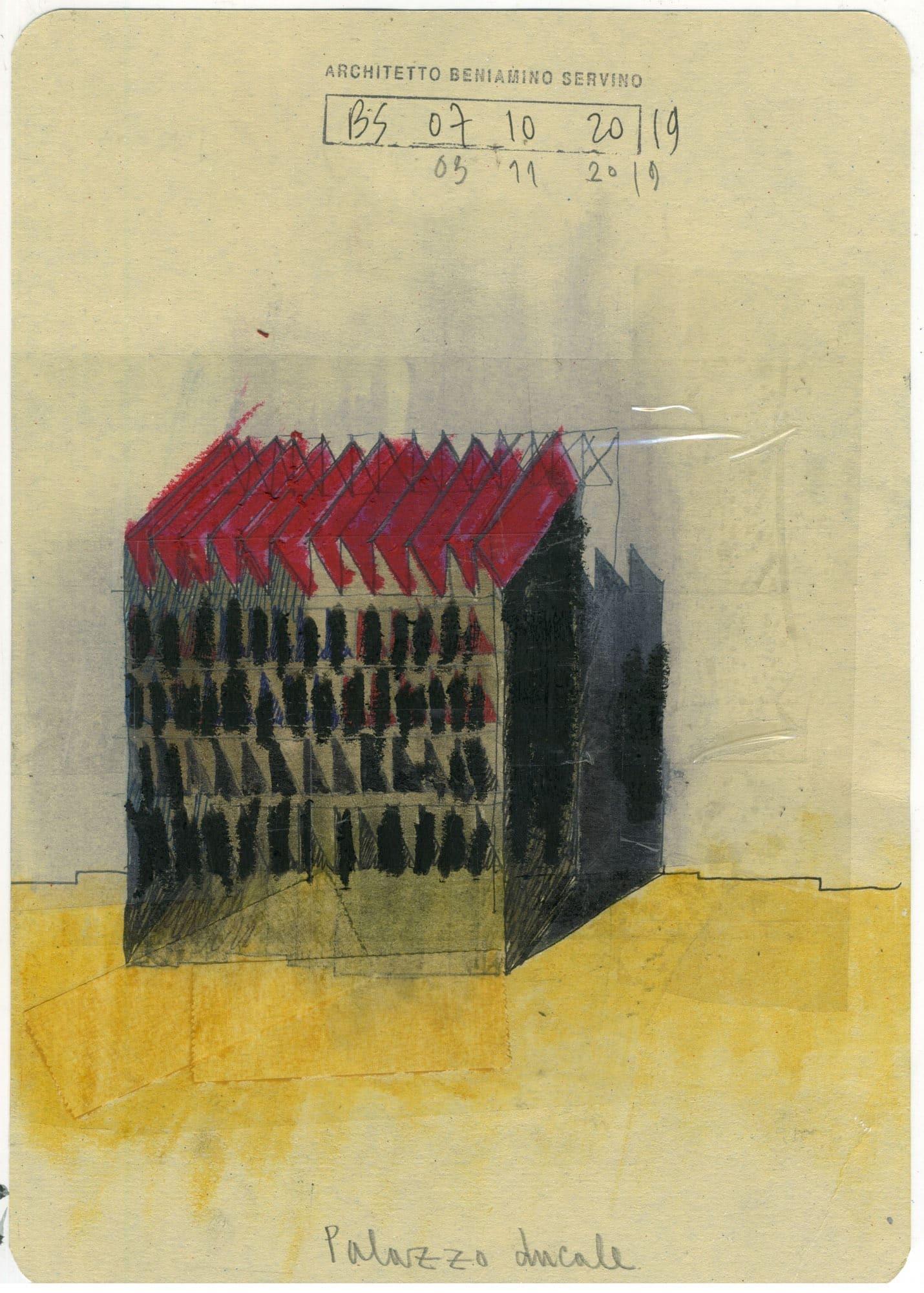 Beniamino Servino_Palazzo ducale_(19,5 x 27,5cm). Penna al gel di inchiostro, matita, pastelli a olio, nastro adesivo trasparente su cartoncino