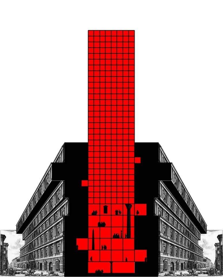 Carmelo BaglivoSezione piranesiana con innesto rosso, 2020