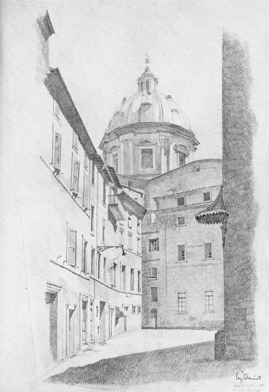 1 - Cupola della Chiesa di Sant'Andrea della Valle vista da piazza dei Satiri, pubblicazione del Corso biennale di Disegno dal vero del prof. L. Vagnetti - Vista prospettica