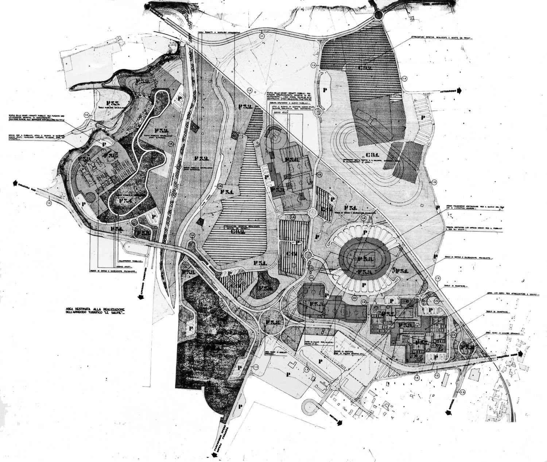 """4 - PP della """"Città dello Sport"""" di Siracusa; in collaborazione - Planimetria con destinazioni d'uso"""