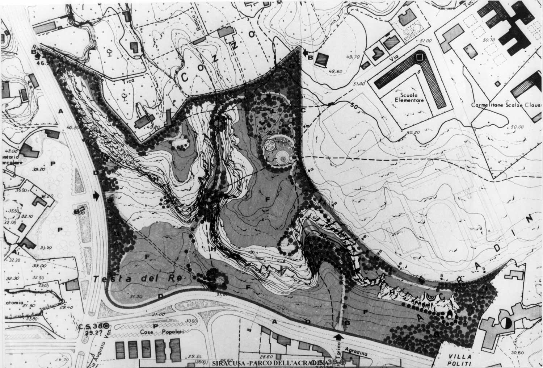 """6 - Parco nell'area archeologica """"Balze di S. Lucia"""", Siracusa - Acradina, per Comune di Siracusa; in collaborazione - Planimetria"""