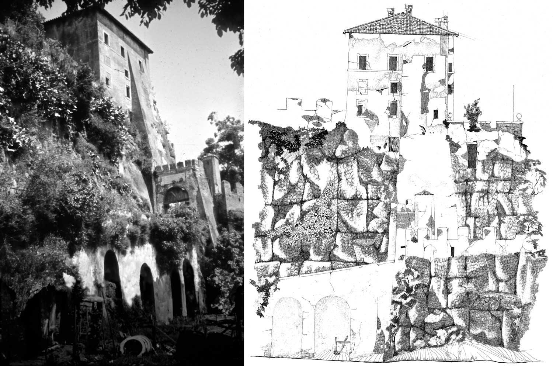 1 - Rilievo e restituzione grafica del Borgo di Ceri (RM); con altri - Vista della rupe, restituzione grafica