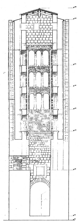 10 - Restauro della Torre rinascimentale con campanile romanico inglobato, Bassano in Teverina (VT) - Sezione verticale