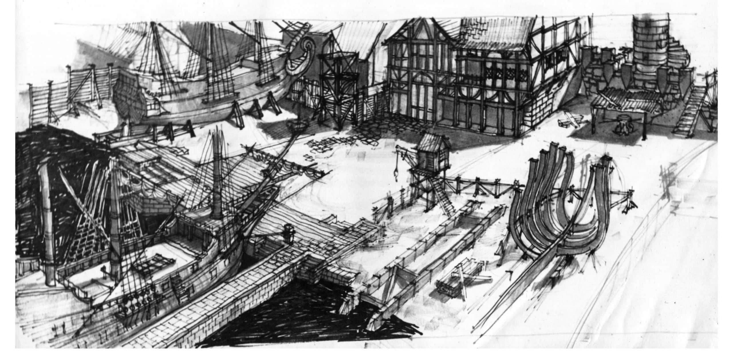 10 - Scenografia e arredamento del film Il dominatore dei sette mari, per Adelphia Cinematografica -  Studio di esterni