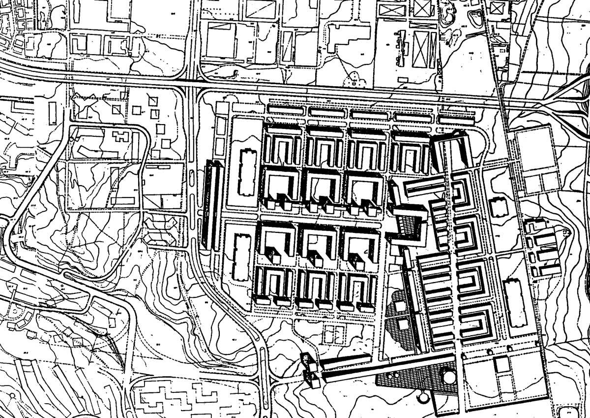 11 - Quartiere di edilizia economica e popolare nel PdZ 167 - Mistica I°, loc. Prenestino - Casilino, per Comune di Roma; in collaborazione - Planivolumetrico