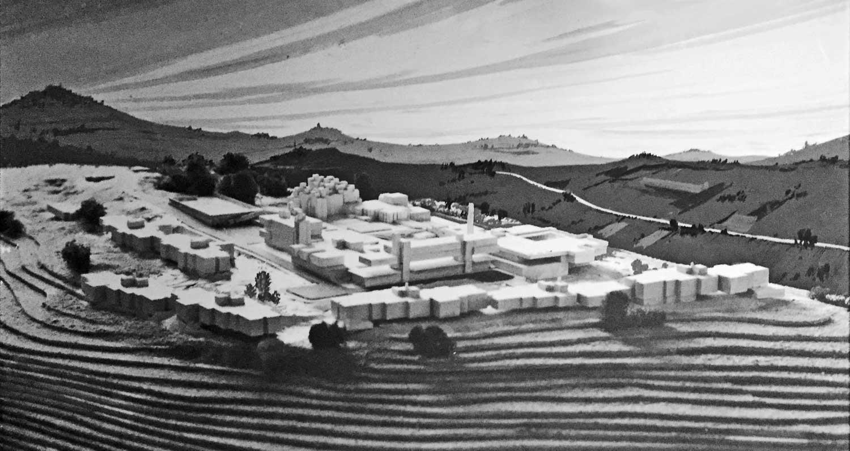 12 - Progetto del nuovo complesso ospedaliero psichiatrico provinciale a Fermo (AP); capogrupo con altri. Concorso nazionale, II premio ex aequo (I premio non assegnato) - Vista del plastico