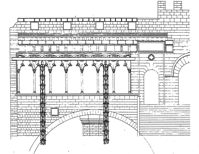 14 - Restauro della Loggia Papale del Palazzo Vescovile di Viterbo - Stralcio del prospetto