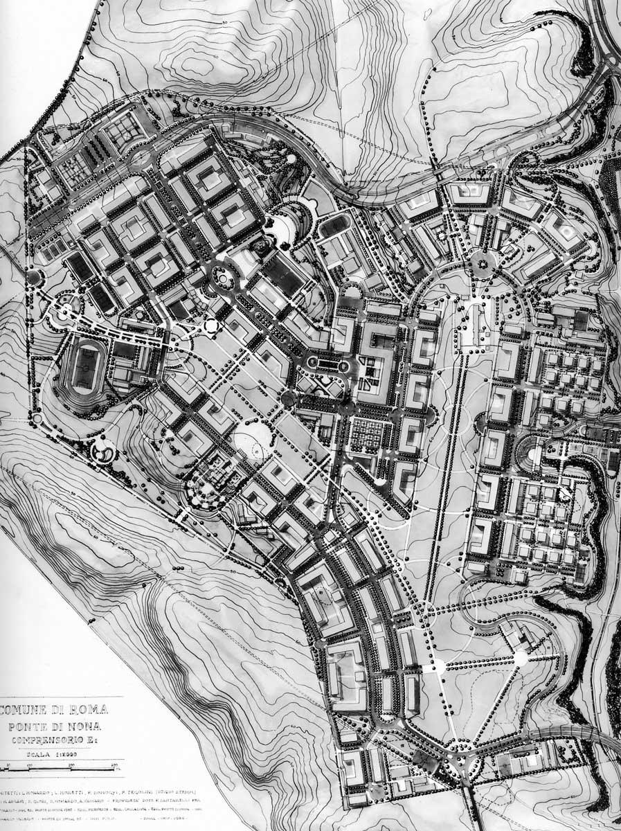 13 - Piano Urbanistico Attuativo a Ponte di Nona, Roma; in collaborazione - Planimetria generale