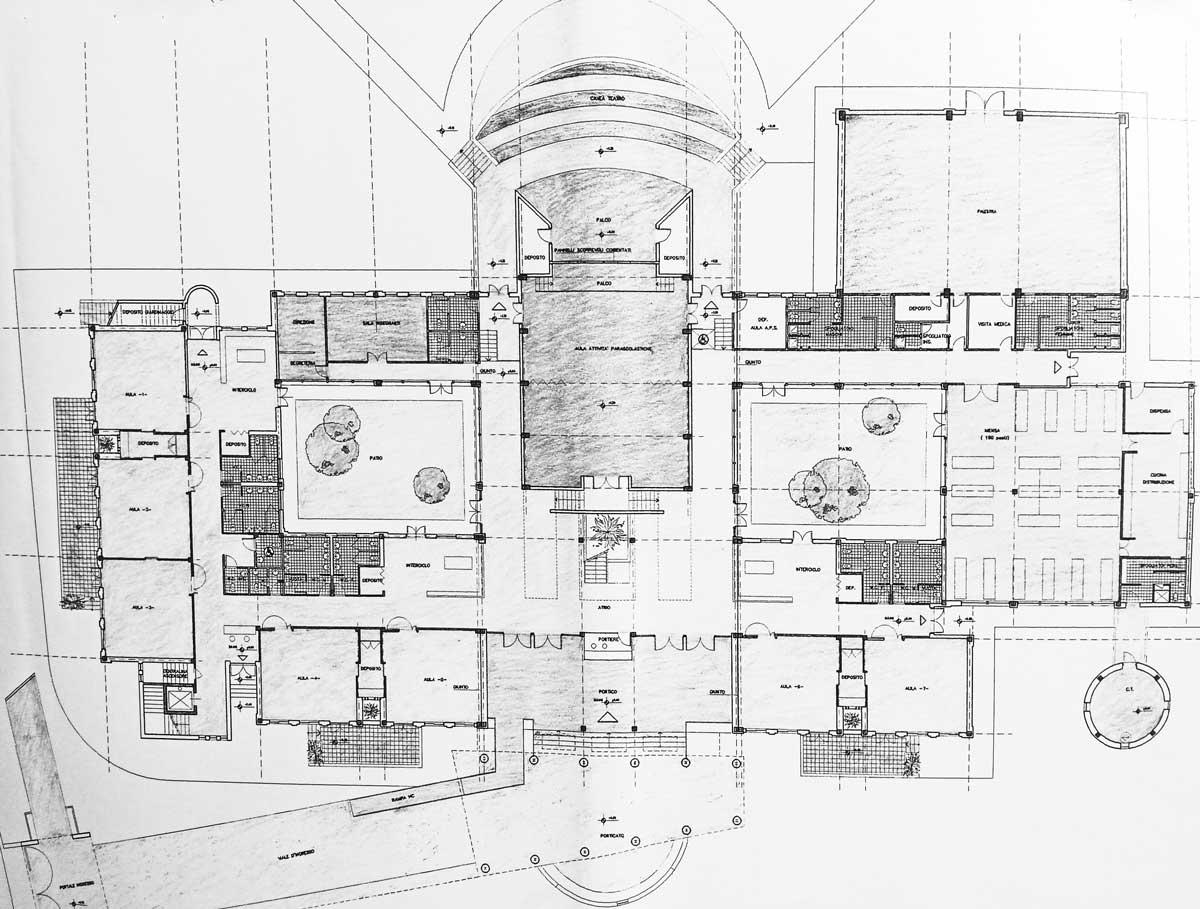 13 - Progetto di una scuola elementare a S. Anastasia (NA) - Pianta piano terra