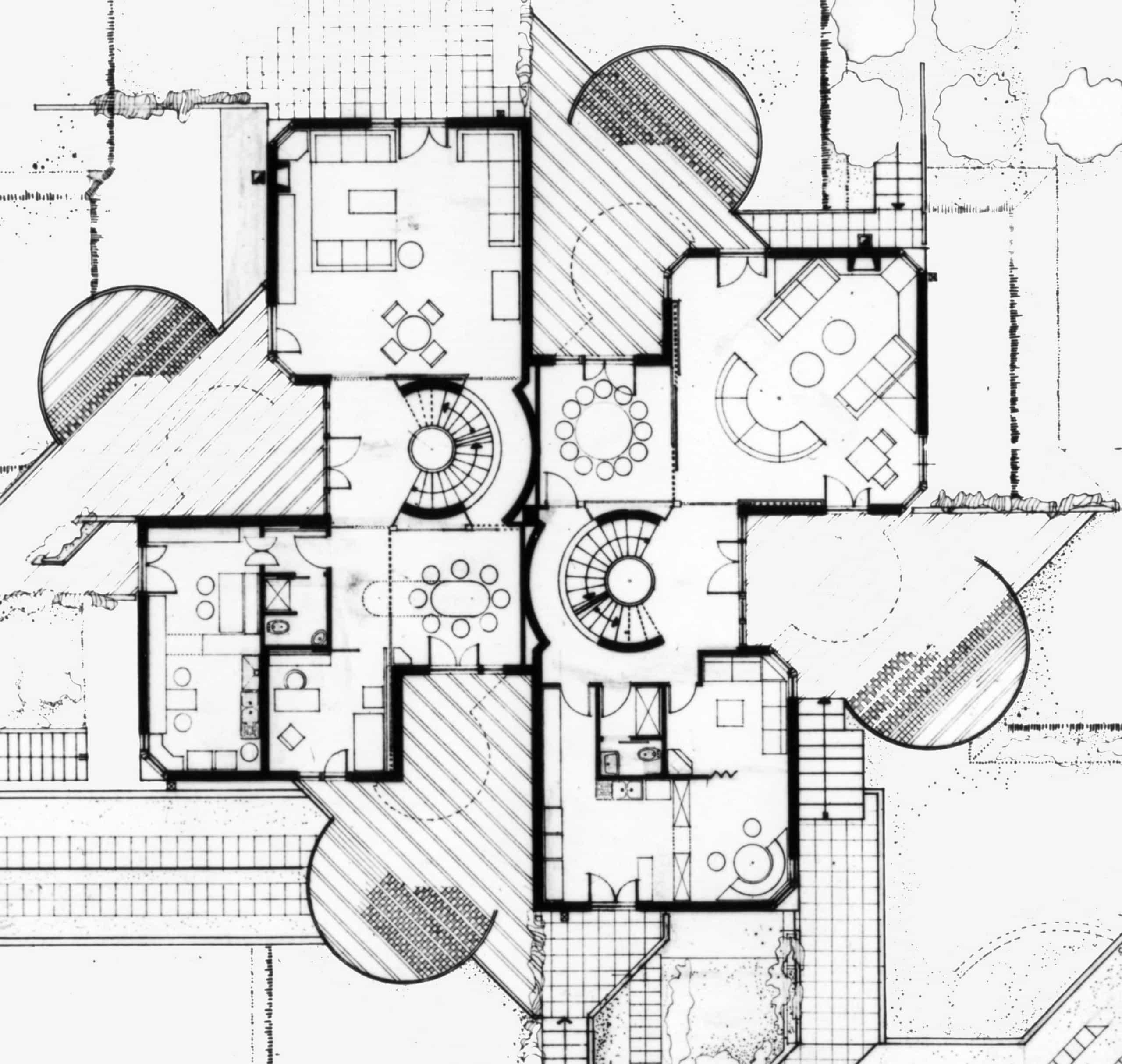 8 - Casa bifamiliare Nir a Roma - Mostacciano; con GC. Pediconi - Pianta