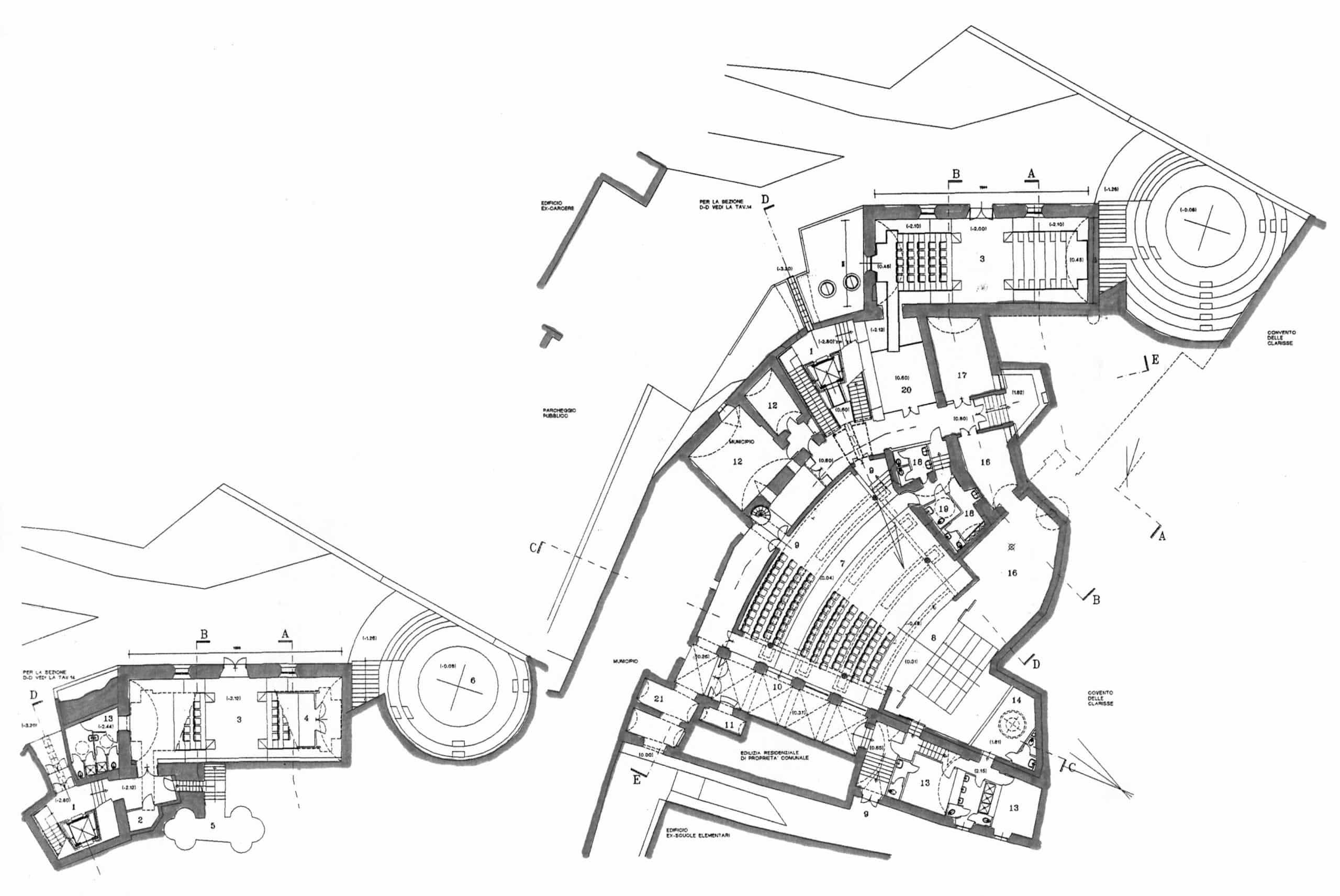 14 - Progetto per il recupero dell'ex teatro comunale da adibire a Centro di scienze teatrali applicate, Fara Sabina (RI) - Planimetria