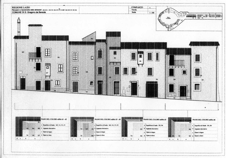 14 - Riqualificazione di abitazioni nel centro storico di S. Gregorio da Sassola (RM); in collaborazione - Prospetti
