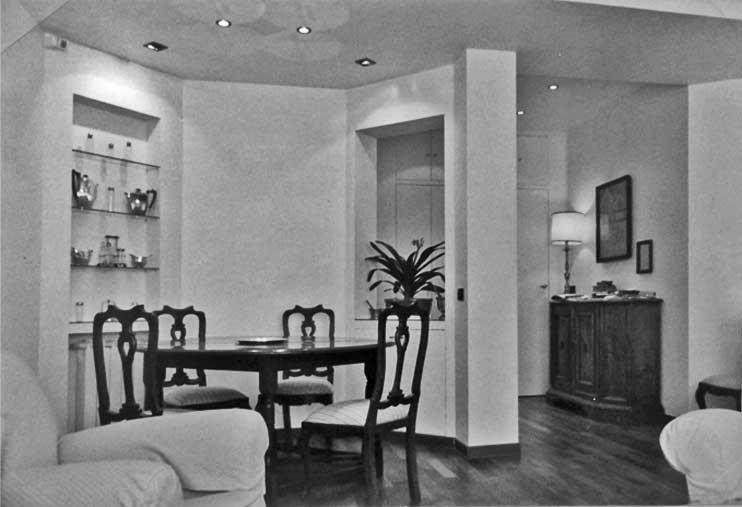 14 - Ristrutturazione e arredamento spazi comuni dell'Agip Hotel, Assago (MI), per Agip Petroli SpA; con G. Fini - Vista interna