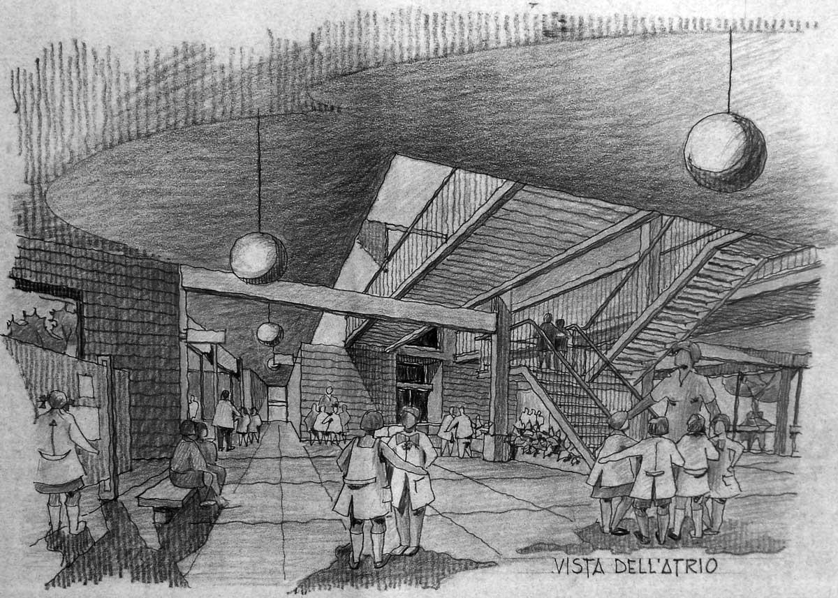 14 - Progetto di una scuola elementare a S. Anastasia (NA) - Vista prospettica