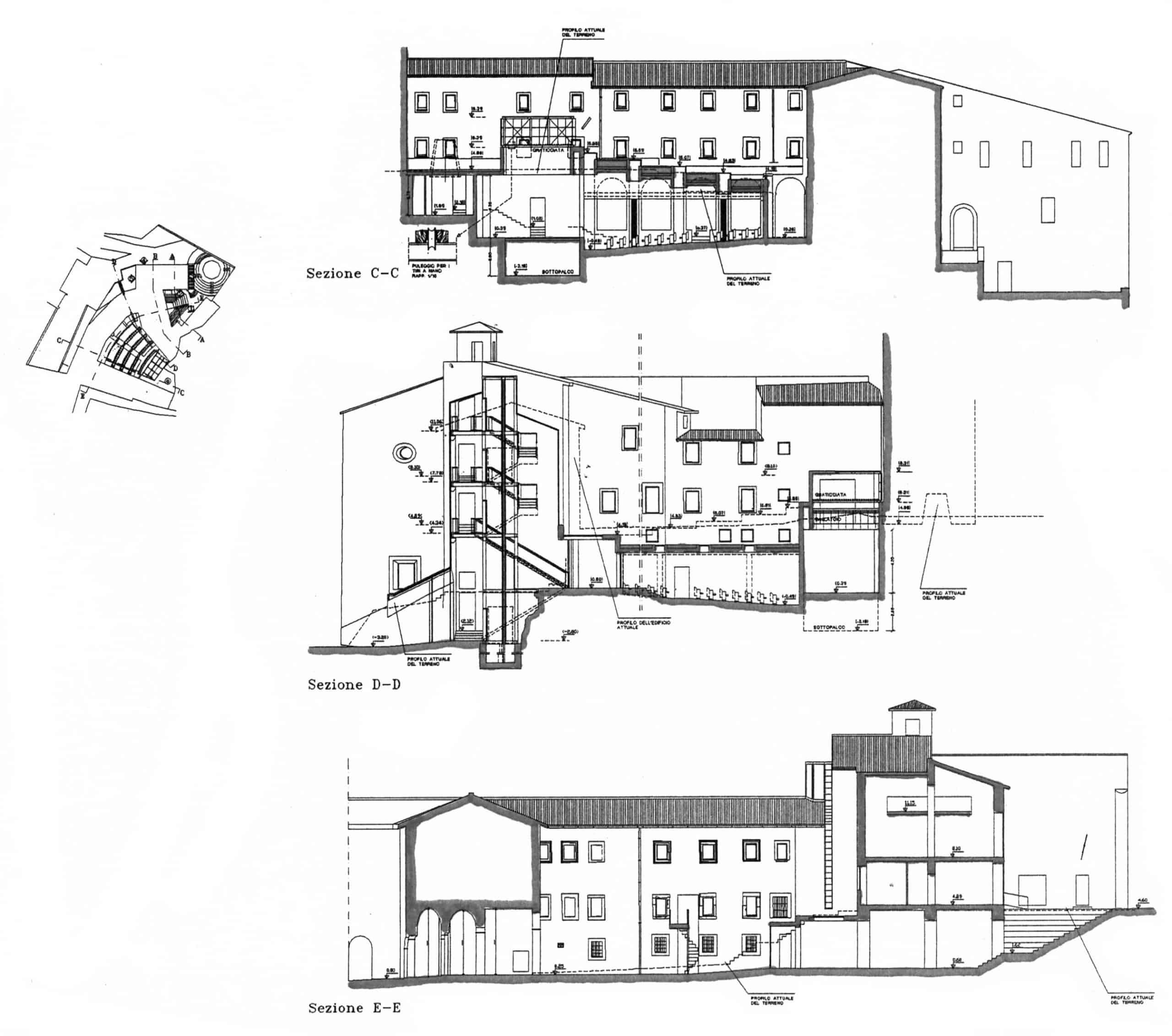 15 - Progetto per il recupero dell'ex teatro comunale da adibire a Centro di scienze teatrali applicate, Fara Sabina (RI) - Sezioni