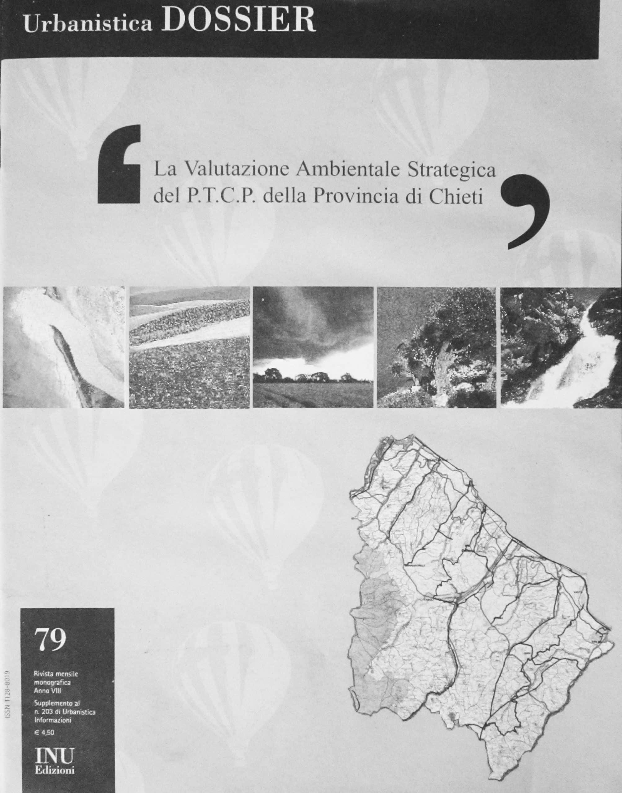"""15 - """"La valutazione ambientale strategica del P.T.C.P. della Provincia di Chieti"""" in Urbanistica Dossier, INU Edizioni, Roma 2005; con B. Di Rico e V. Fabiett - Copertina"""