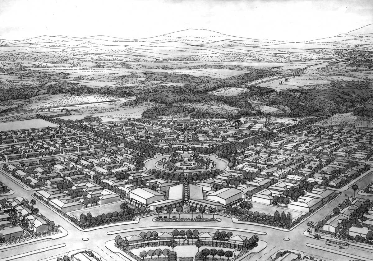 16 - Progetto urbanistico ed edilizio della città di Apopa (San Salvador - El Salvador), per Ministero degli Esteri; in collaborazione - Vista prospettica