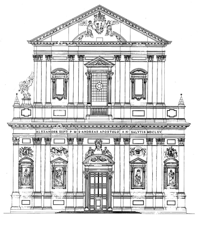 17 - Restauro della facciata della Chiesa di S. Andrea Della Valle, Roma - Prospetto