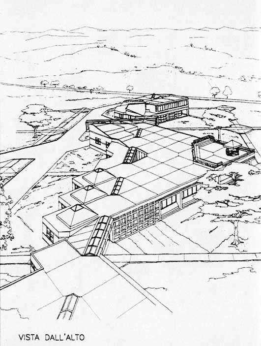 16 - Centro di ricerca per il controllo dei sistemi idrici Hydrocontrol, Capoterra (CA), per Consorzio Lotti SpA e Regione Sardegna; con A. Jatta - Vista assonometrica