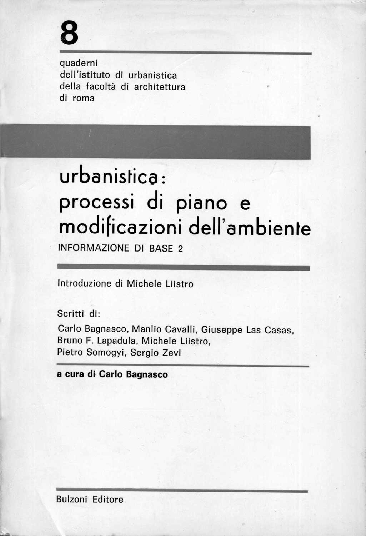 17 - Urbanistica: processi di piano e modificazione dell'ambiente, a cura di C. Bagnasco, Bulzoni, Roma 1979 - Copertina