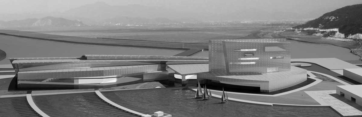 """17 - Progetto di massima per il porto turistico """"Sweet Marina"""", Damuwan New City (Cina); con A&U Engineering - Vista prospettica"""