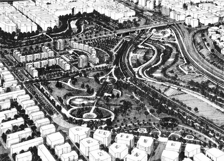 18 - Progetto urbano per la riqualificazione del Pratone delle Valli, Roma; in collaborazione - Vista prospettica