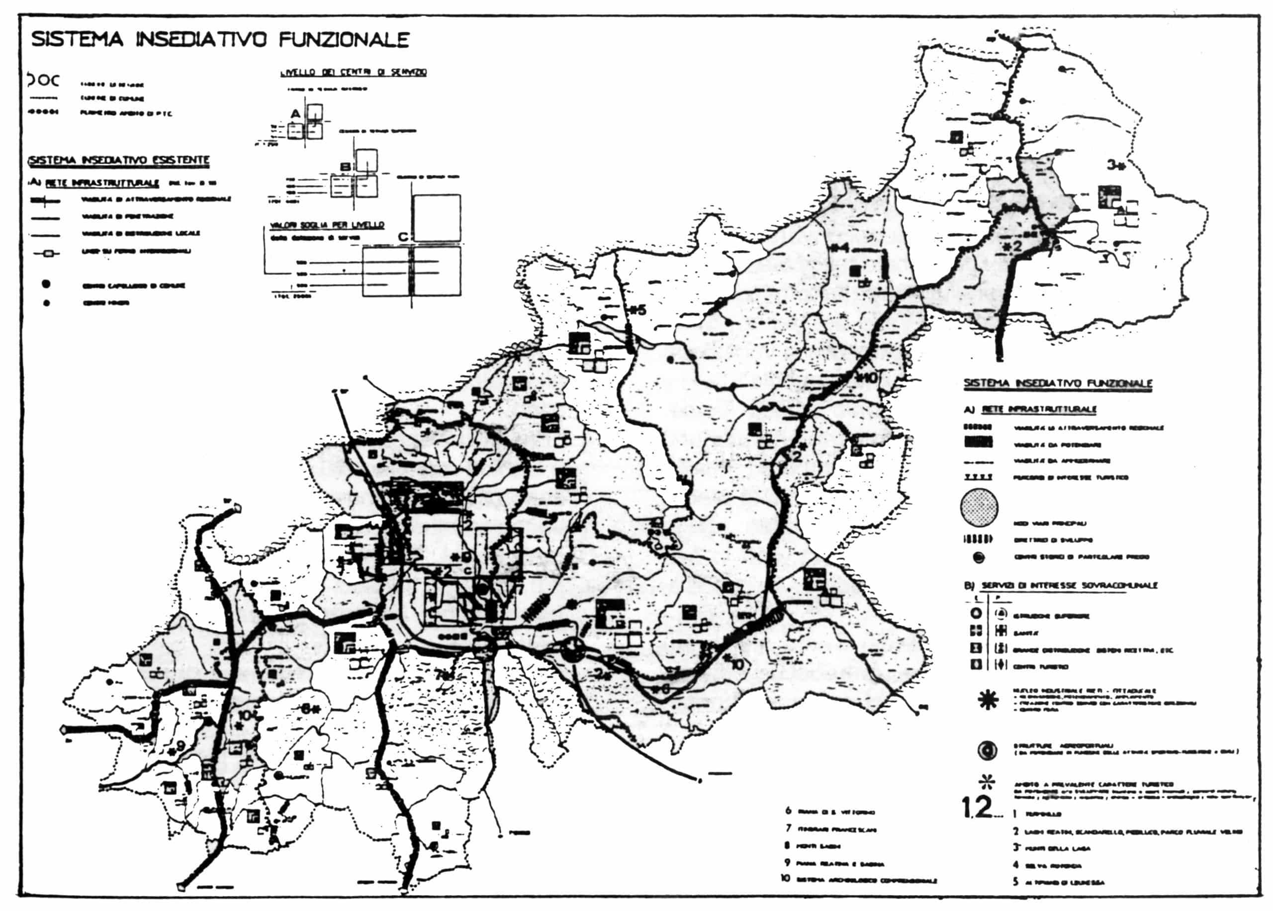 18 - PTC ambito territoriale n. 5 Rieti, per Regione Lazio; con G. Delmastro, F. Franceschini, G. Miarelli Mariani, G. Romoli, M. P. Sette e ing. Tocchi - Sistema insediativo funzionale
