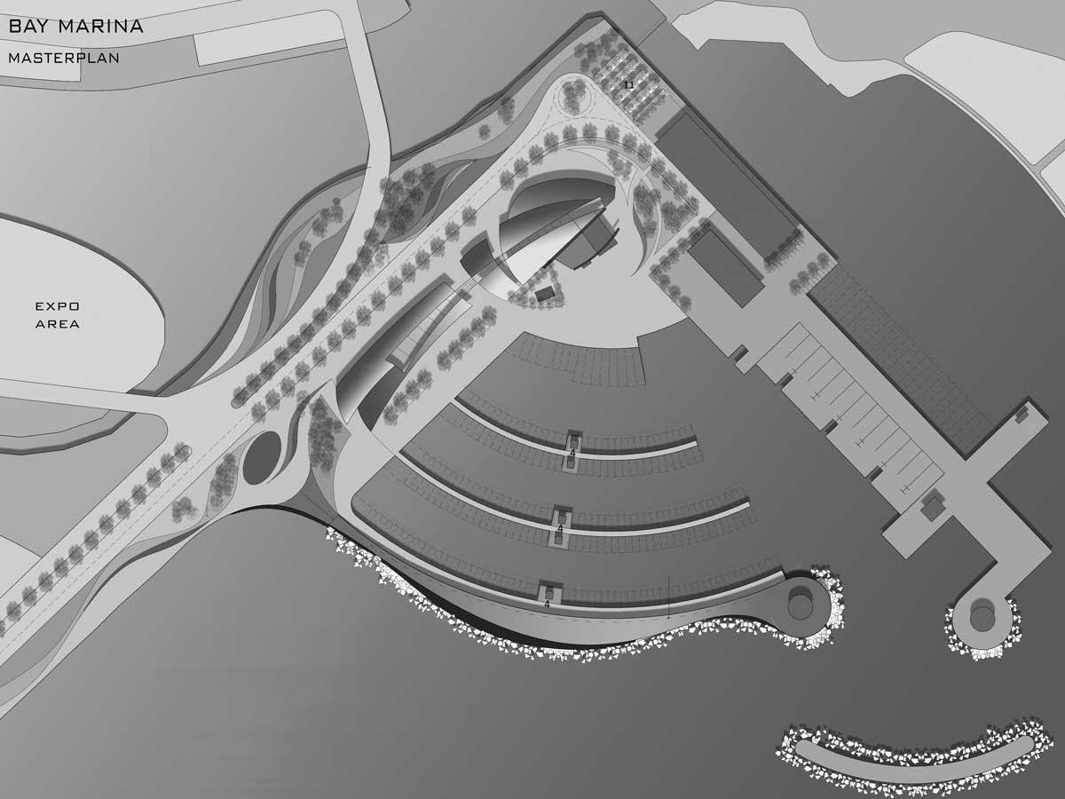 """18 - Progetto di massima per il porto turistico """"Bay Marina"""", Damuwan New City (Cina); con A&U Engineering - Planimetria generale"""