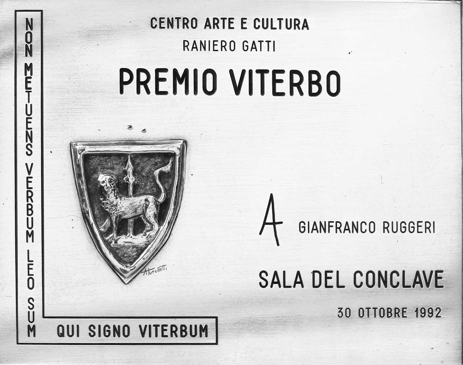20 - Premio Viterbo 1992 - Attestato