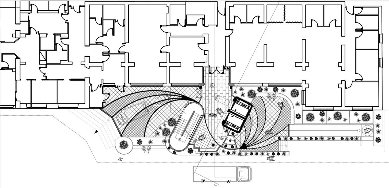 """18 - Progetto del nuovo ingresso e blocco scale per il Padiglione A dell'Istituto di riabilitazione """"S. Stefano"""", Porto Potenza Picena (MC); in corso di realizzazione - Pianta"""