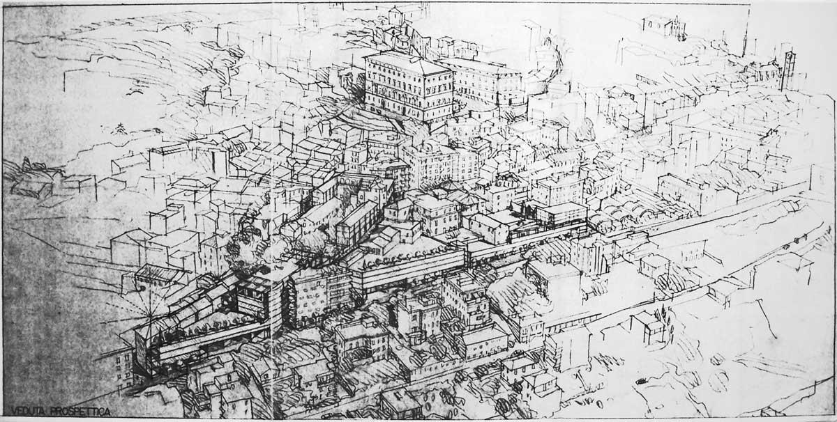 19 - Progetto di ristrutturazione di comparto urbano Area ex Milleluci - S. Martino - Caserma Carabinieri, Velletri (RM); con F. Pierluisi - Vista prospettica a volo d' uccello