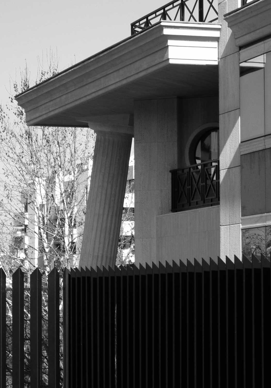 16 - Progetto di concessione ed esecutivo di edificio per uffici IRCOS nel Lotto N7 del PdZ n. 38 Laurentino, Roma, per Soc. CCC - Costruzioni Civili e Commerciali; con V. Hinna Danesi. Realizzato - Vista esterna di dettaglio