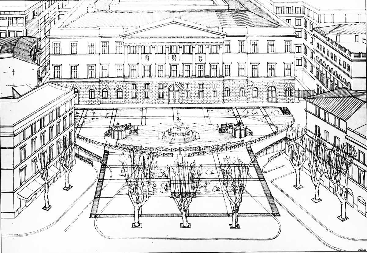 19 - Progetti di parcheggi interrati e riqualificazione di piazza Cavour, piazza Mastai e via Merulana, Roma; in collaborazione. Appalto concorso - Vista prospettica