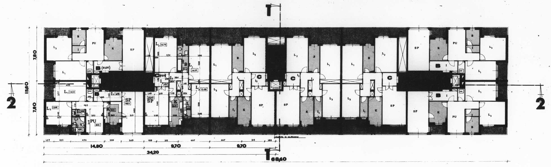 5 - 54 alloggi a Roma - Spinaceto, II programma GESCAL - IACP Roma; capogruppo - Pianta piano tipo