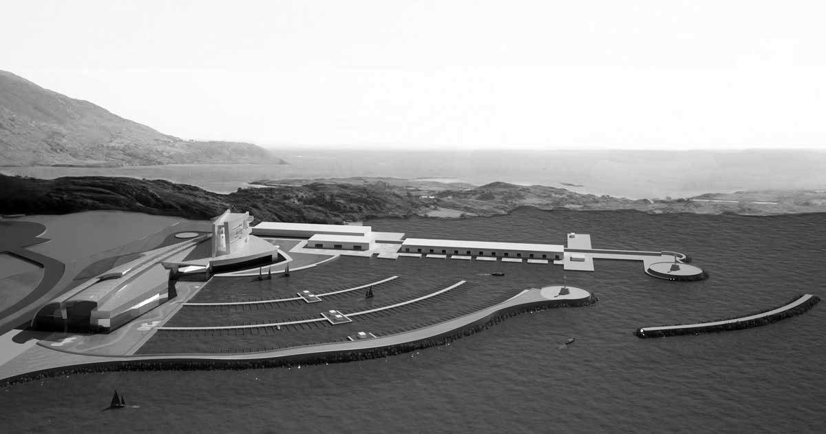 """19 - Progetto di massima per il porto turistico """"Bay Marina"""", Damuwan New City (Cina); con A&U Engineering - Vista prospettica"""