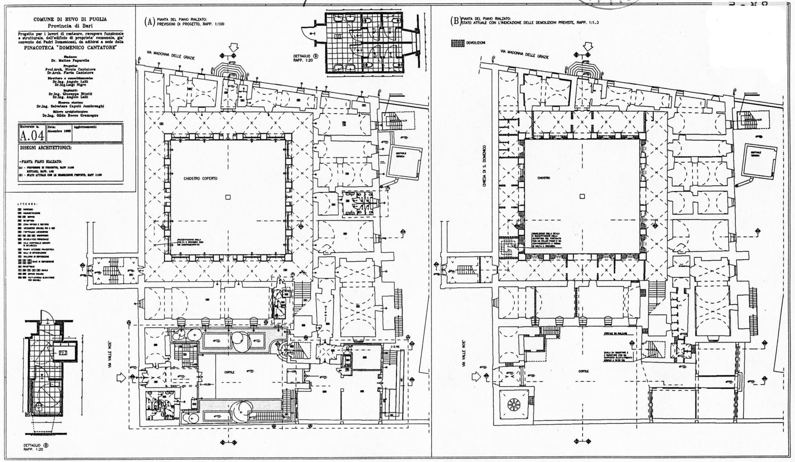 19 - Progetto di restauro, recupero funzionale e strutturale e arredamento dell'ex convento dei Padri domenicani da adibirsi a Pinacoteca comunale, Ruvo di Puglia (BA) - Sezioni