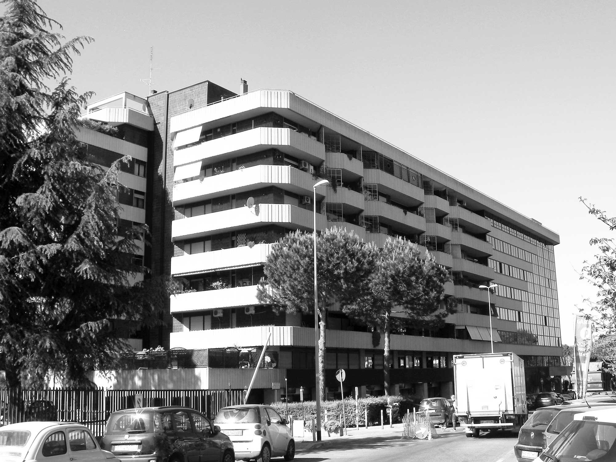 1 - Piano Urbanistico di Esecuzione del Comprensorio Zona D in via Benedetto Croce, Roma; con Studio LDB - Vista esterna del complesso per uffici, abitazioni e negozi