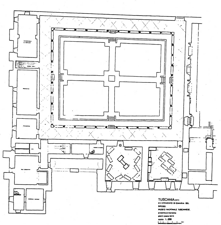 1 - Restauro della Chiesa e del Convento di S. Maria del Riposo, ora Museo Nazionale Tuscanese, Tuscania (VT) - Pianta