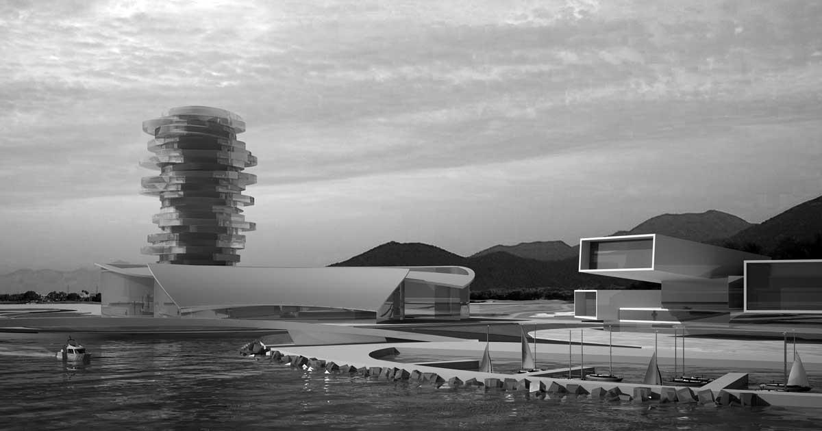 """20 - Progetto di massima per il porto turistico """"Bay Marina"""", Damuwan New City (Cina); con A&U Engineering - Vista prospettica"""