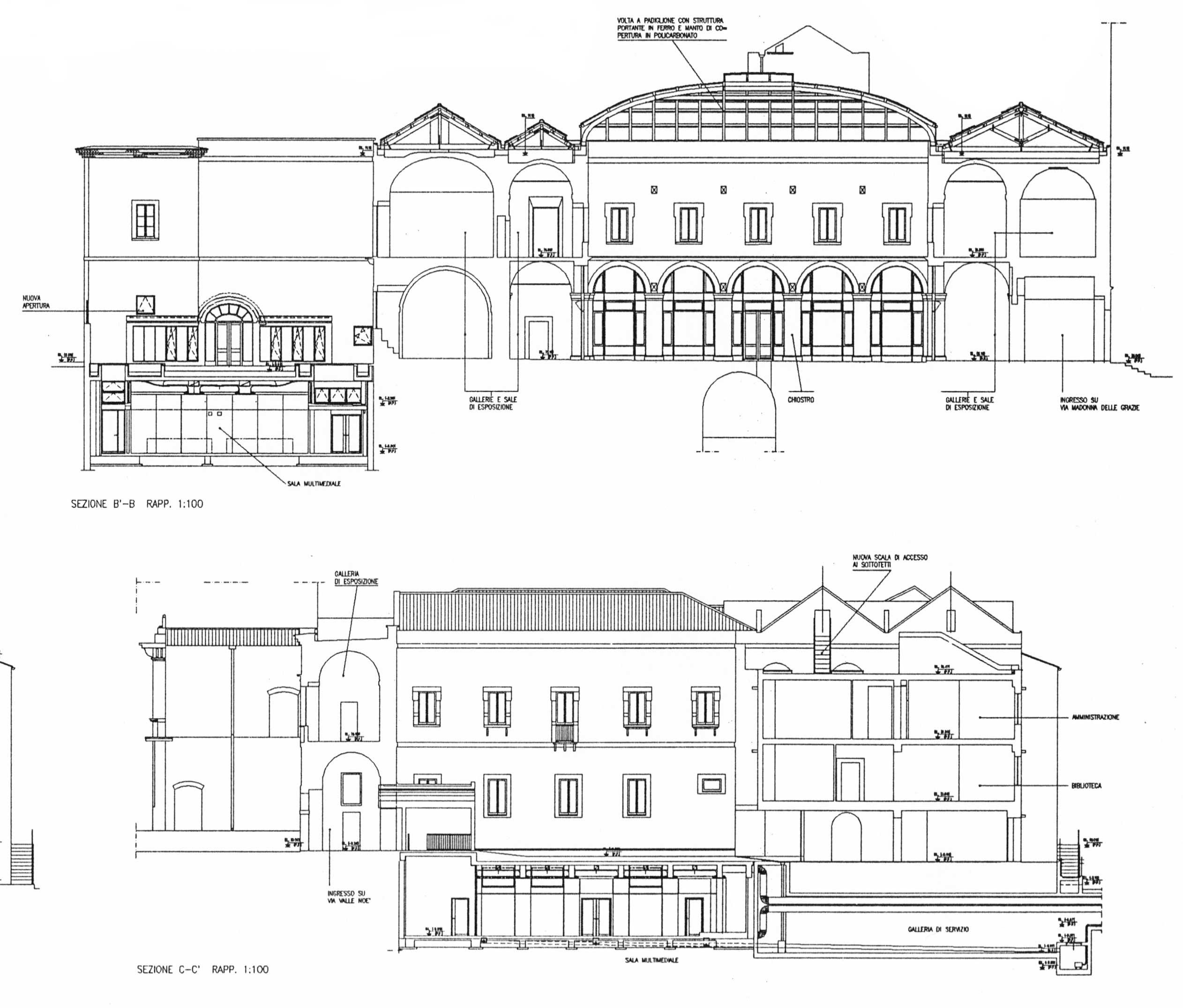 20 - Progetto di restauro, recupero funzionale e strutturale e arredamento dell'ex convento dei Padri domenicani da adibirsi a Pinacoteca comunale, Ruvo di Puglia (BA) - Piante