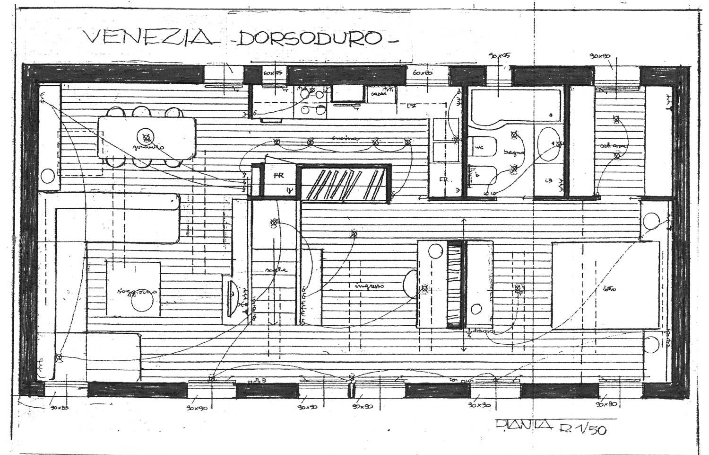 20 - Rifacimento di casa E. Rizzato a Venezia; con E. Monti - Pianta