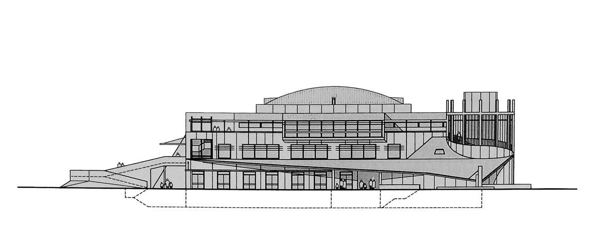 21 - Progetto di un polo scolastico, culturale e ricreativo a Morlupo (RM); con Grandi Lavori FINCOSIT SpA. Joint-venture - Prospetto