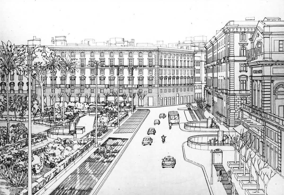 21 - Progetti di parcheggi interrati e riqualificazione di piazza Cavour, piazza Mastai e via Merulana, Roma; in collaborazione. Appalto concorso - Vista prospettica