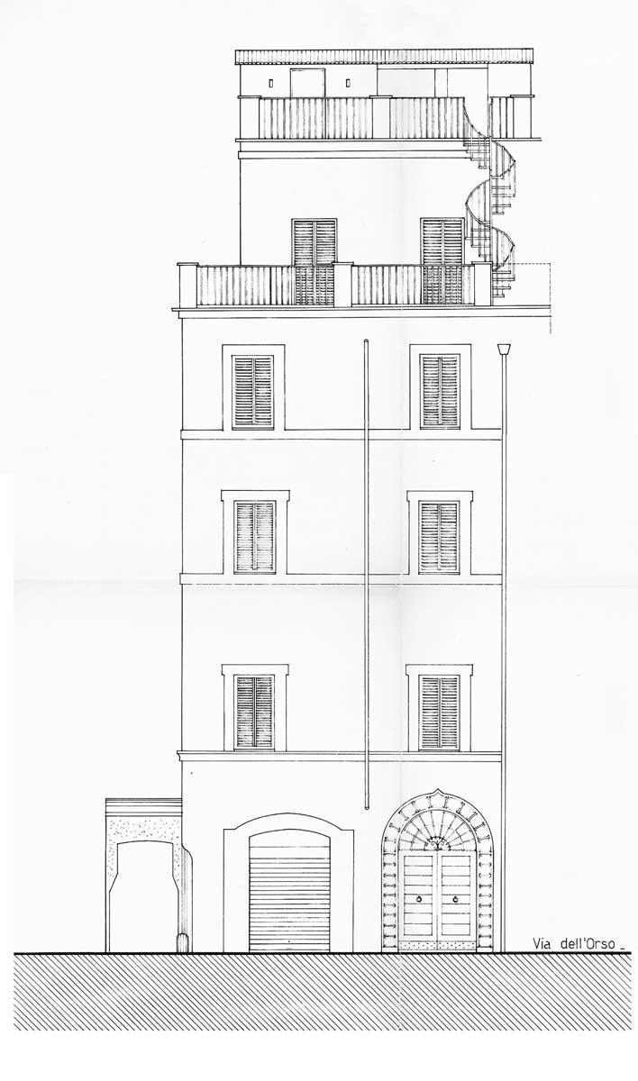 20 - Restauro con sopraelevazione dell'ex palazzo Strozzi a via dell'Orso, Roma - Prospetto