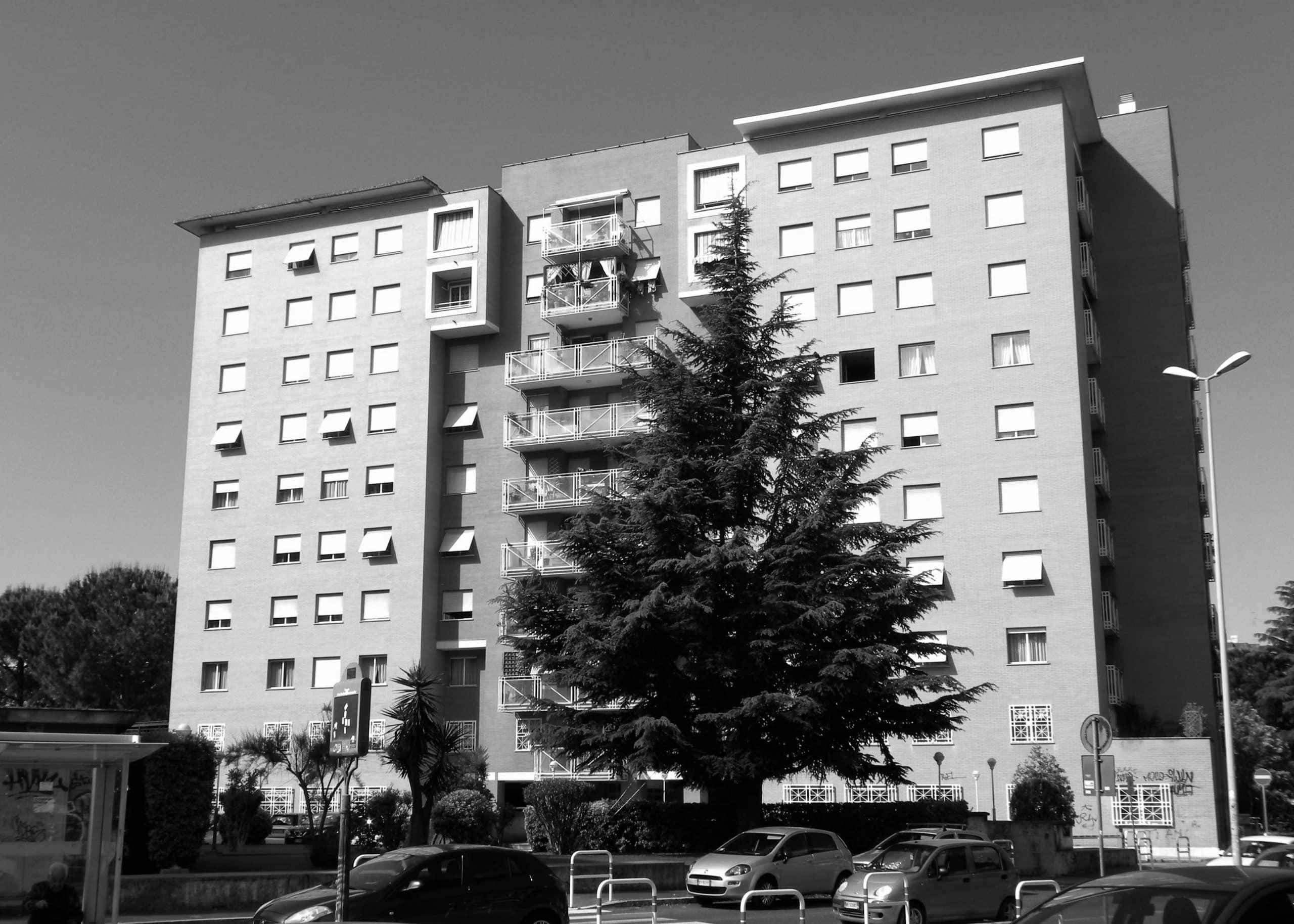21 - Complesso residenziale per 216 alloggi e uffici nel PdZ Tiburtino Sud in via B. Bardanzellu, Roma - Vista esterna degli edifici residenziali