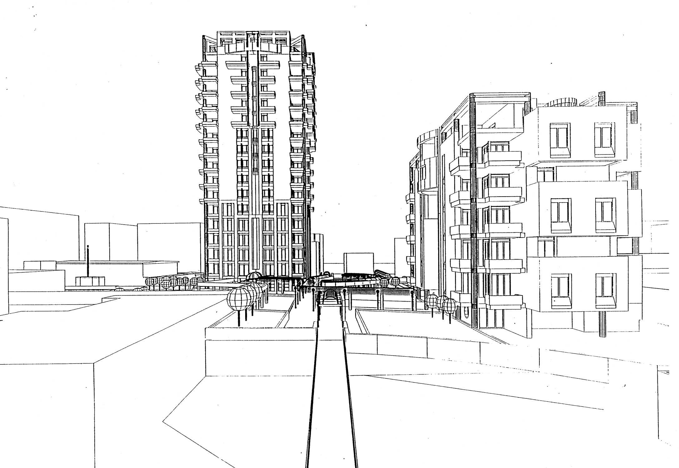 22 - Complesso residenziale con edificio a torre in viale Jenner, Milano, per Jenner Center Srl; con Spaggiari - Vista prospettica
