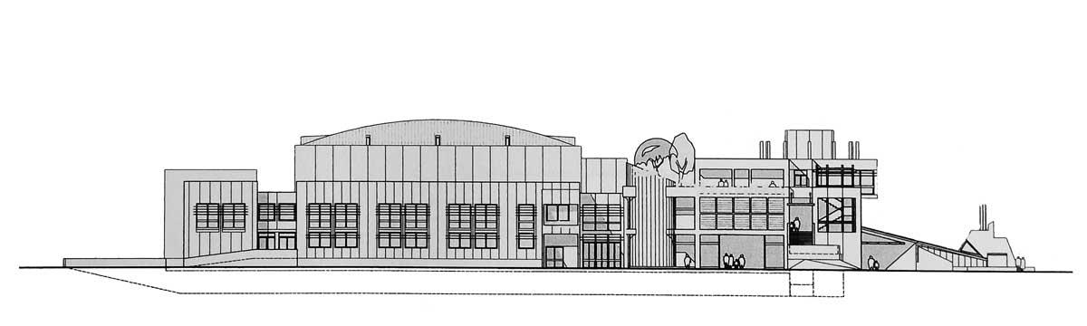22 - Progetto di un polo scolastico, culturale e ricreativo a Morlupo (RM); con Grandi Lavori FINCOSIT SpA. Joint-venture - Prospetto