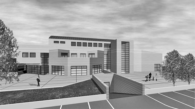 22 - Progetto del nuovo Municipio di Truccazzano (MI); con A. Jatta. Concorso nazionale - Render esterno