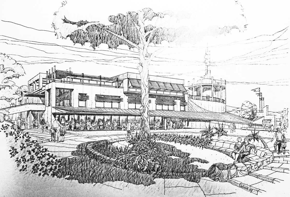 23 - Progetto di un polo scolastico, culturale e ricreativo a Morlupo (RM); con Grandi Lavori FINCOSIT SpA. Joint-venture - Vista prospettica esterna