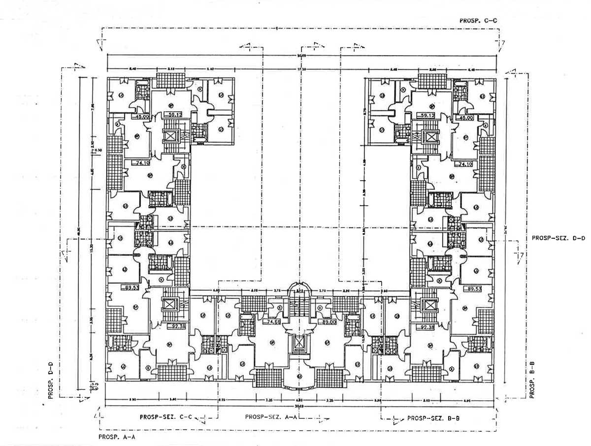 23 - Progetti di edifici IACP, Roma - Tor Vergata - Pianta piano tipo